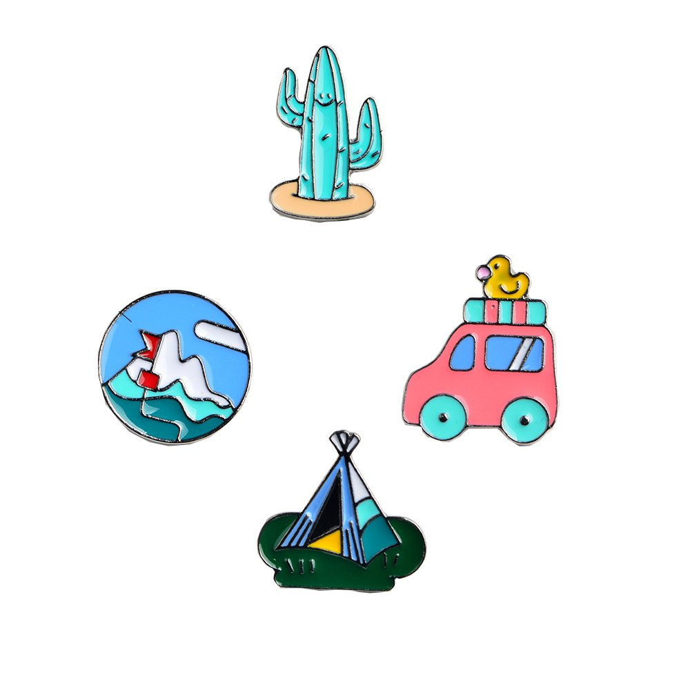 4pcs/set Cactus Car Tent Mountain enamel pins Lapel pin Badges Wanderlust travel adventure hiking gifts QIHE