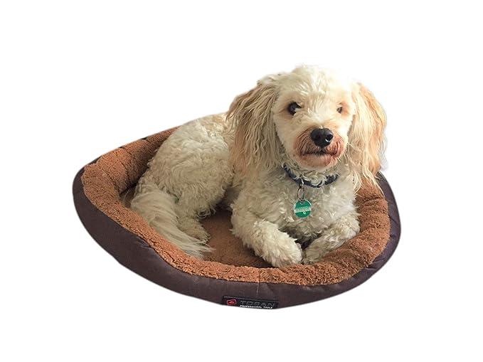 Cama para perros Tamaño S 40 cm Diámetro con cojín Reversible marrón/beige con acolchado