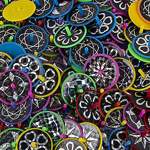 (Kicko Laser Disc Spin Toy - Set of 144 Spinning Tops with Laser Stickers for Physical Play, Enhancing Focus, Fair Prize, Party Favor, Goody Bag)