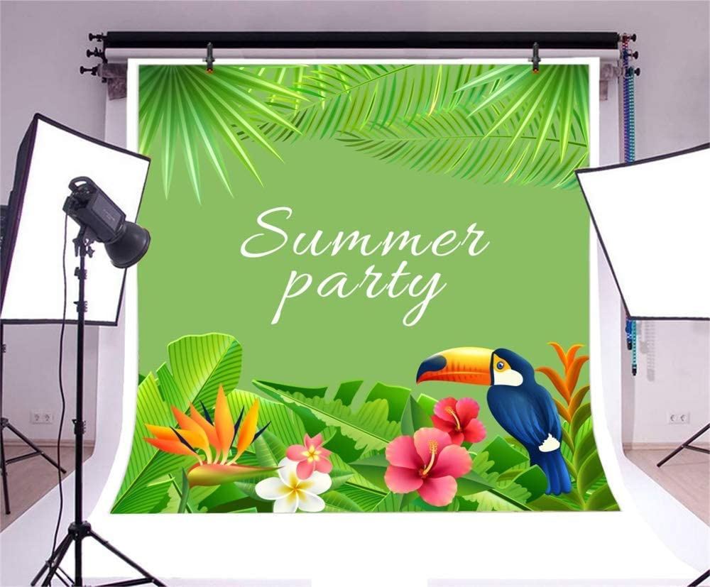 10x10ft Summer Party Vinyl Photography Background Summer Green Tropical Leaves Flowers Woodpecker Backdrop Child Adult Birthday Banner Stylish Wallpaper Studio Props