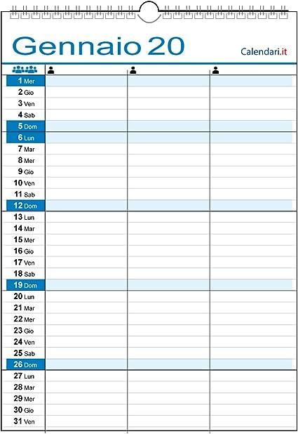 Calendario 2020 Familia de pared trabajo para 3 personas de 3 columnas: Amazon.es: Oficina y papelería
