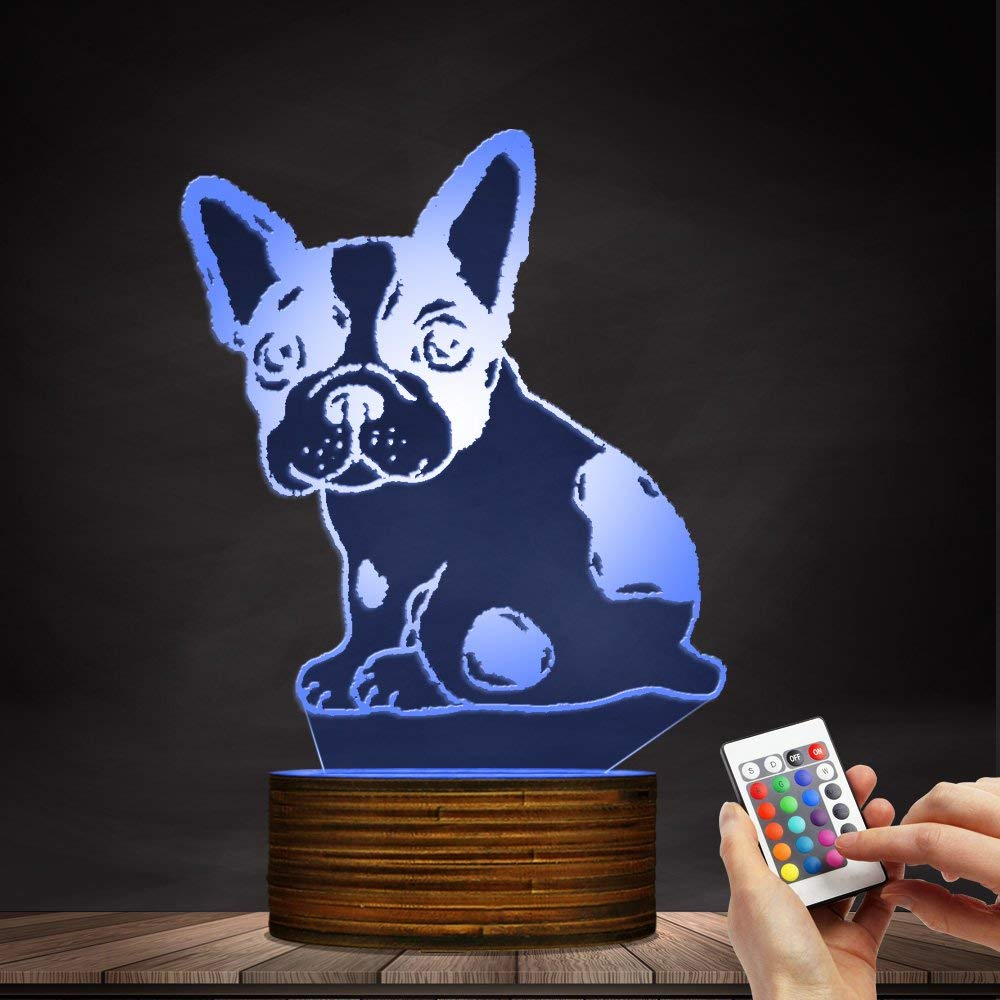 Novelty Lamp, Optical Illusion 3D LED Lamp Night Light French Bulldog, USB Powered Remote Control Changes The Color of The Light, Bedroom Table Lamp, Children's Gift, Home Decoration,Ambient Light by LIX-XYD (Image #6)