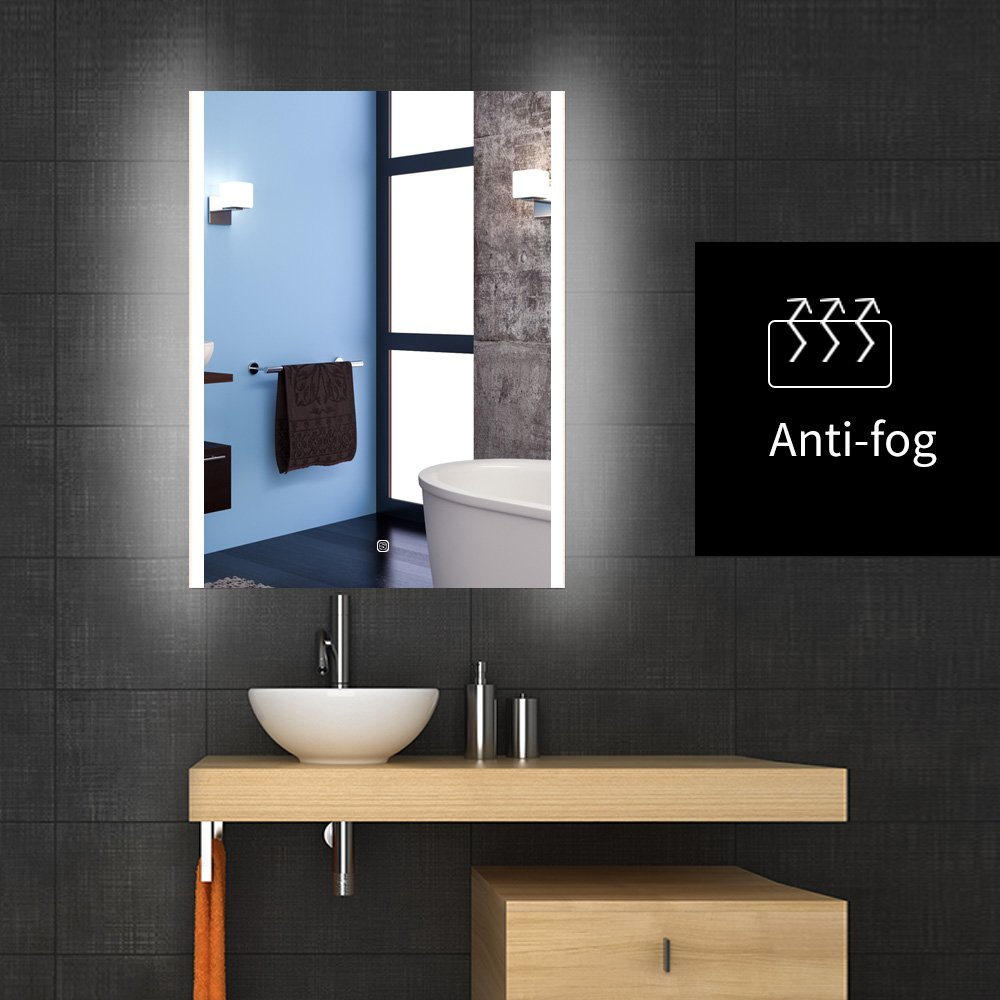 Backlit Lighted LED Bathroom Vanity Mirror Frameless Wall Antifogging Mirror Illuminated Rectangle by WillanFS