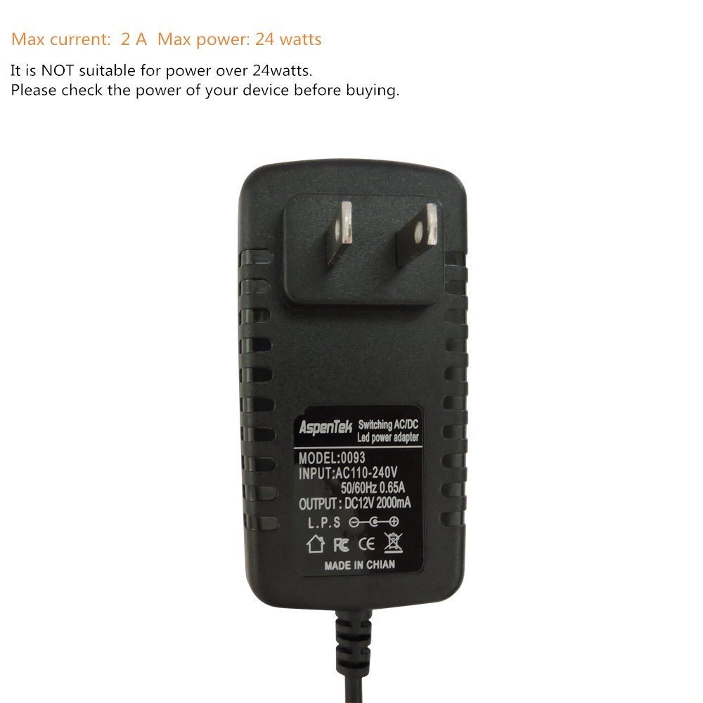 Aspentek Us Led Power Supply Adapter With Inline On Off Switch For Voltage Is Ramp From 22v To 26v And Resulted Load Rigid Bar Strip Light Tape Under Cabinet Lighting Output Dc 12v 2a