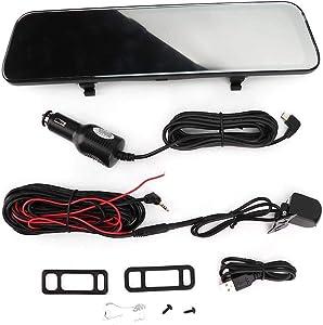 Dual Lens Mirror Dash Cam, 12in 2K Dual Lens Full Screen Rearview Mirror Car Backup Camera Night Vision G-Sensor Waterproof Rear View Camera Driving Recorder