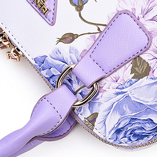 Leather Shoulder Cross Bag Print Handbag Body Floral Lady Jiacheng29 Faux Purple Fashion Tote AqnPzx4v