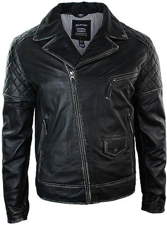 Mens Black Brown Vintage Biker Real Leather Jacket Distressed Zipped Casual