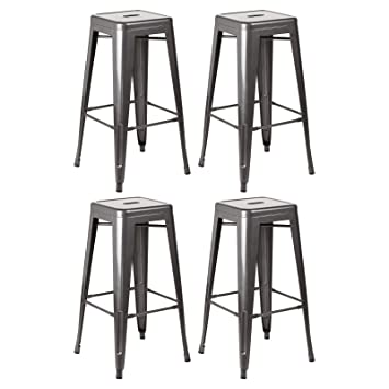 Awesome Hartleys Industrial Gunmetal Grey Metal Bar Stools Set Of Four Machost Co Dining Chair Design Ideas Machostcouk