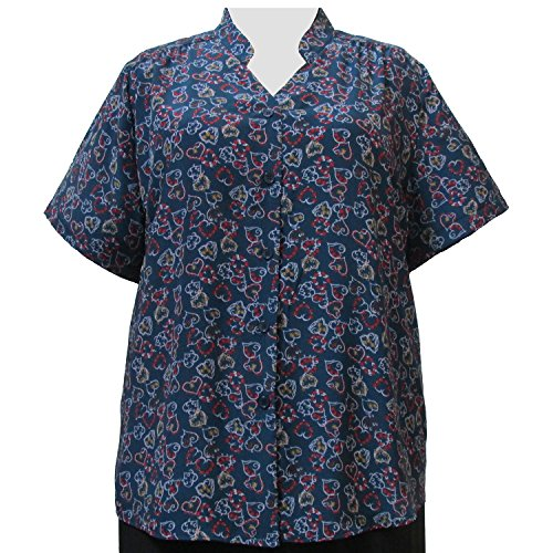 A Personal Touch Women's Plus Size Blue Hearts Mandarin Collar V-Neck Blouse - 0X