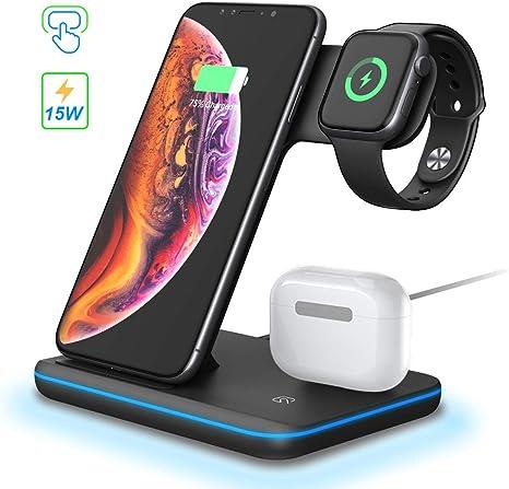 POWERGIANT 3 en 1 Chargeur sans Fil Chargeur à Induction Rapide Station de Charge 15W Qi pour Apple Watch 54321 Airpords Pro 2 iPhone 11 8 x