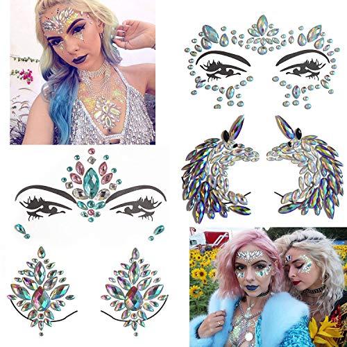 Body Rhinestone Tattoo - Inifty 4 Sets Women Face & Body Mermaid Rhinestone Jewels Temporary Tattoos, Body Stickers for Music Festivals Bohemian Coachella (Style 2)