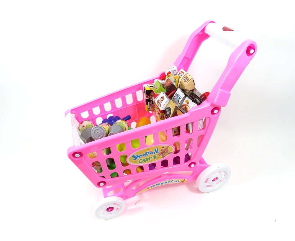 AMPERSAND SHOPS Musical Toy Shopping Cart with Goodies (Pink)