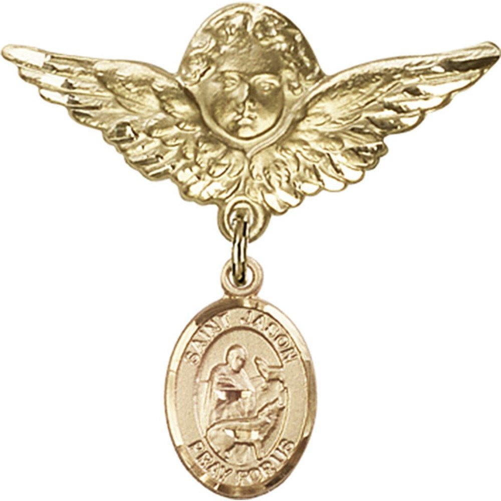 14kt Yellow Gold Baby Badge with St. Jason Charm and Angel w/Wings Badge Pin 1 1/8 X 1 1/8 inches by Unknown