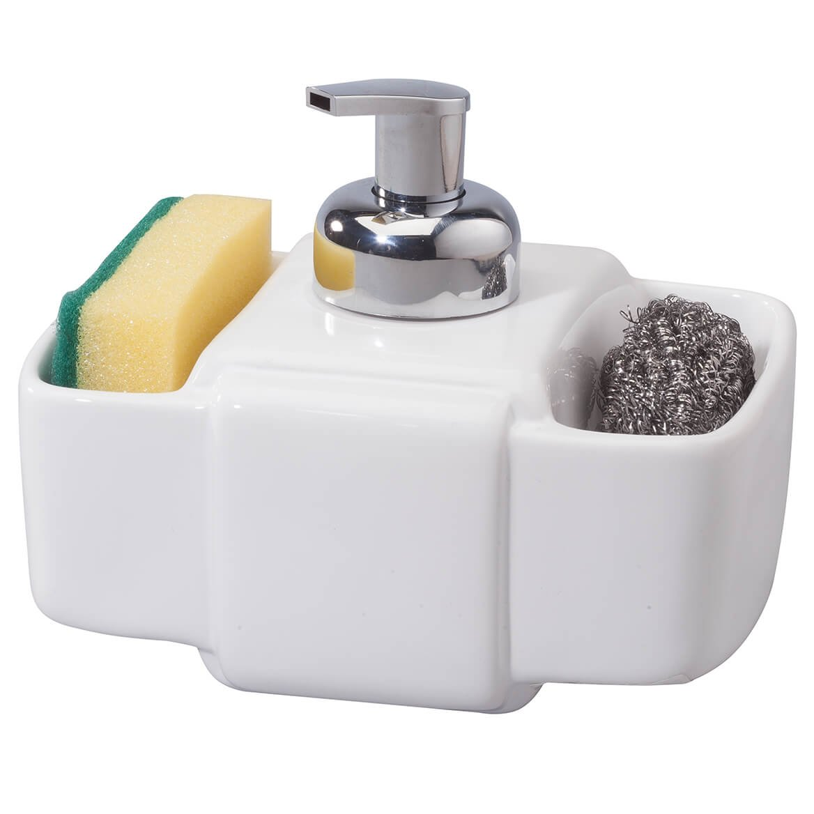 Home Essentials White Ceramic 3 Section Liquid Soap Dispenser with Sponge Holders, 7.5'' L