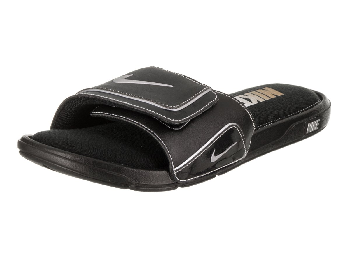 online store 5034d 85510 Amazon.com  Nike Mens Comfort Slide 2 Black Metallic Silver White Sandal 13  Men US  Home   Kitchen