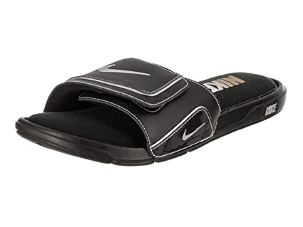 c5c66ed49 Image Unavailable. Image not available for. Color  Nike Mens Comfort Slide  2 Black Metallic Silver White Sandal ...