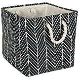 DII Collapsible Polyester Storage Basket or Bin with Durable Cotton Handles, Home Organizer Solution for Office, Bedroom, Closet, Toys, Laundry (11x11x11) - Black Herringbone