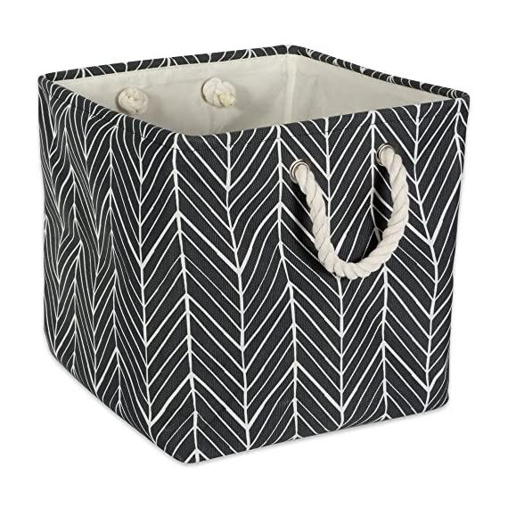 "DII Collapsible Polyester Storage Basket or Bin with Durable Cotton Handles, Home Organizer Solution for Office, Bedroom, Closet, Toys, & Laundry (11x11x11"") - Black Herringbone - SMALL SQUARE BIN - 11X11X11"" with O-ring and cardboard bottom to reinforce shape and give structure, simply collapse bin and store when not in use STURDY ROPE HANDLE - Reinforced cotton rope handles make for easy and comfortable transporting and sturdy bottom retains shape after each use STYLISH FOR ANY ENVIROMENT - These bins are available in fun, trendy and adorable styles and colors, a perfect addition to a nursery, home office, craft room, adds a splash of color to any room while also being functional - living-room-decor, living-room, baskets-storage - 61yVCVS89lL. SS570  -"