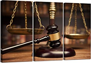 LevvArts 3 Pieces Legal Wall Art Scales of Justice Hammer Picture on Canvas Law Firm Poster Painting for Court Lawyer Office Room Vintage Wall Decoration Framed Ready to Hang