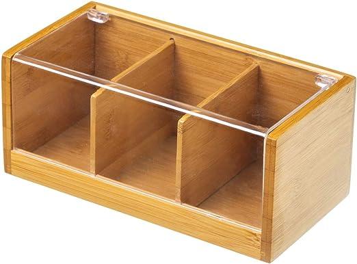 Caja para infusiones de bambú/pvc (22x11x9.5): Amazon.es: Hogar