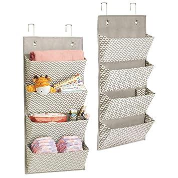 mDesign estanteria colgante para organizar la ropa de bebe - Organizador de ropa color gris oscuro/natural - Con 4 compartimentos - Juego de 2 unidades: ...