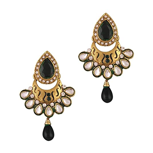 Variation Green Color Traditional Gold Plated Earrings For Women (VD13925) Earrings at amazon