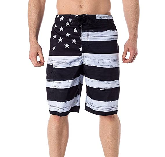 8ab3dbc47940 Amazon.com  USA American Flag Old Glory Men s B W Patriotic Board Shorts  Swim Trunks + Coolie  Clothing