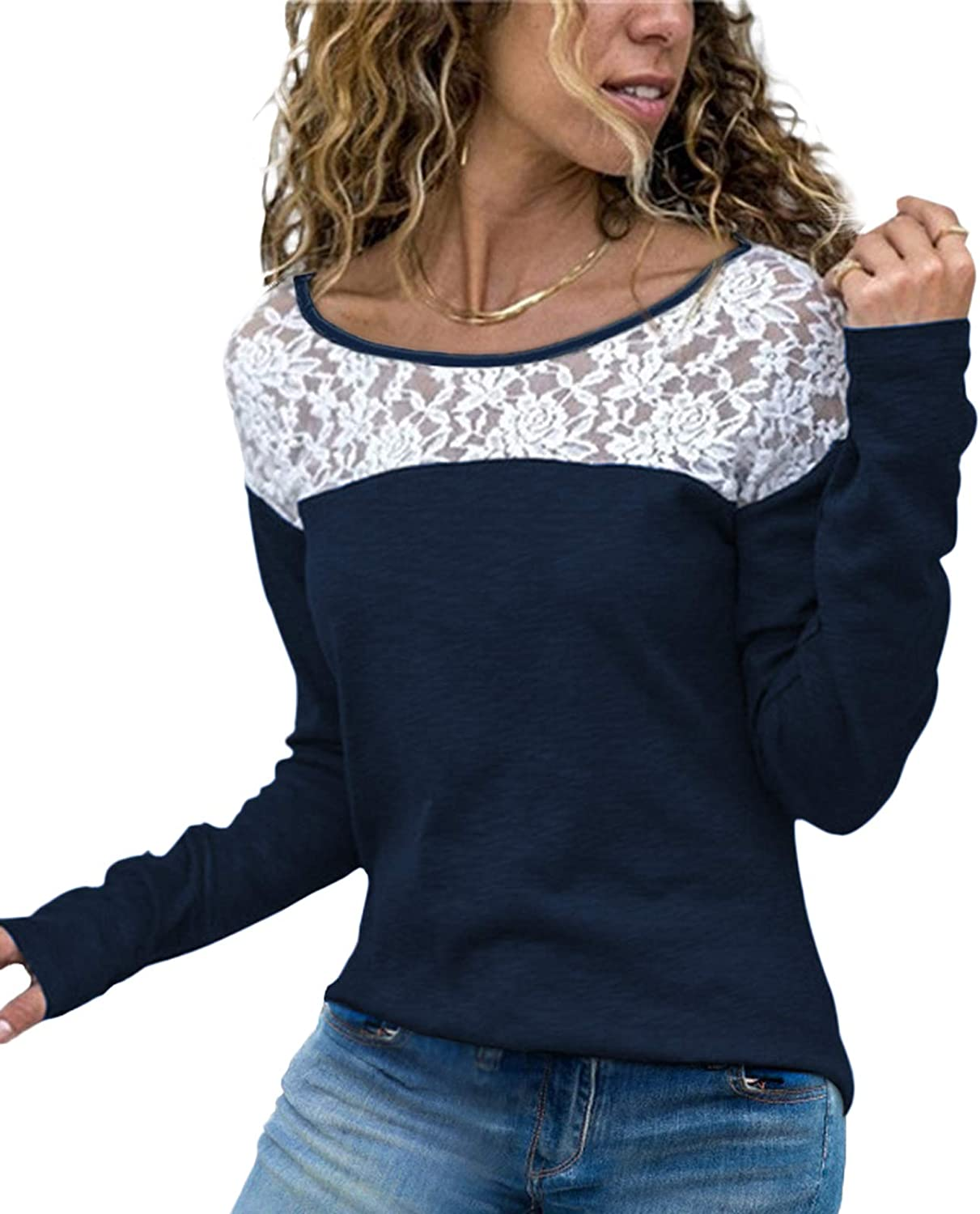 W/ LiCoT Women Cute Lace Top Long Sleeve T Shirt Crew Neck Casual Shirt Blouse