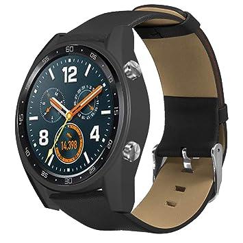Saisiyiky Correa de Reloj de Cuero para Huawei GT Smartwatch,22mm Liberación Rápida Pulsera de Repuesto Pebble Time Nergo