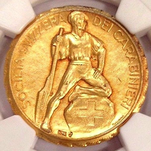 1900 CH Exrimely Rare Swiss Shooting Medal Gilt Silver R- coin Good NGC