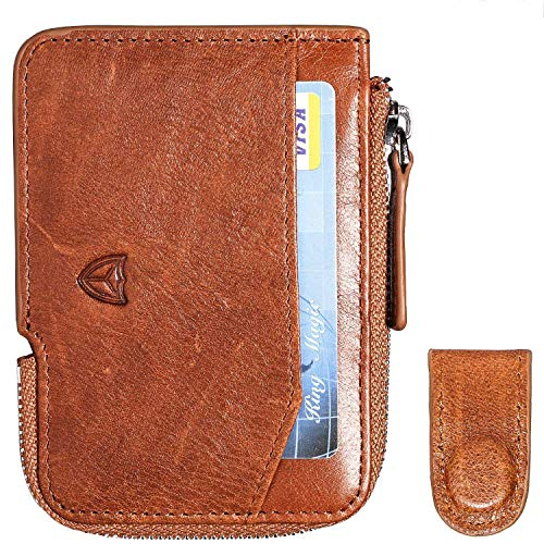 Slim Wallet with Zipper RFID Sleeves Front Pocket Minimalist Wallet Card Holder (Brown)