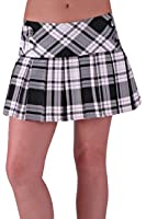 EyeCatchClothing - Freya Button Tartan Check Box Pleat Mini Skirt