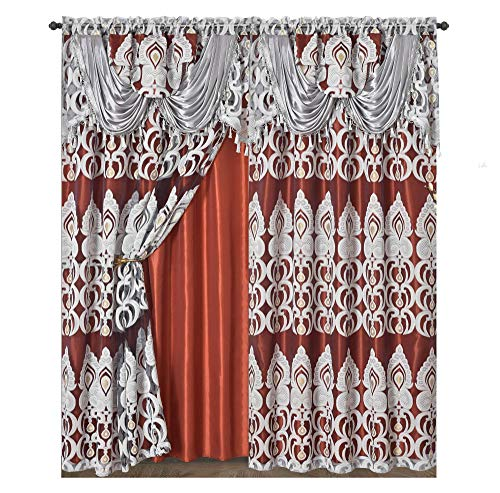 Valance Jacquard Curtain - GOHD Peacock Pride. Clipped Voile/Voile Jacquard Window Curtain Panel Drape Attached Fancy Valance & Taffeta Backing. 2pcs Set. Each pc 54