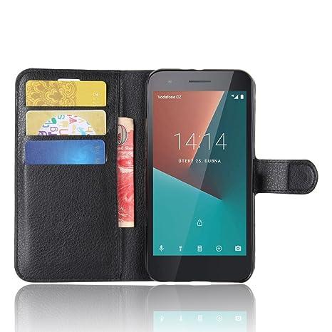 new product e3032 1af01 SMTR Vodafone Smart E8 Premium Leather Wallet case Cover Leather Wallet  Flip Cover with magnetic clasp for Vodafone Smart E8 Smart Phone-Black