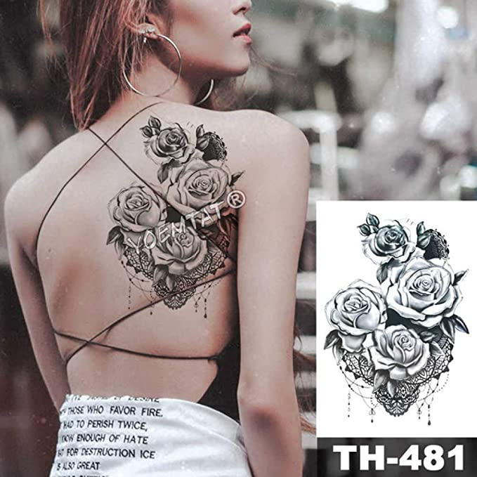 Modeganqing 5 Piezas Tatuaje Negro Flor Tatuaje Manga Transporte ...