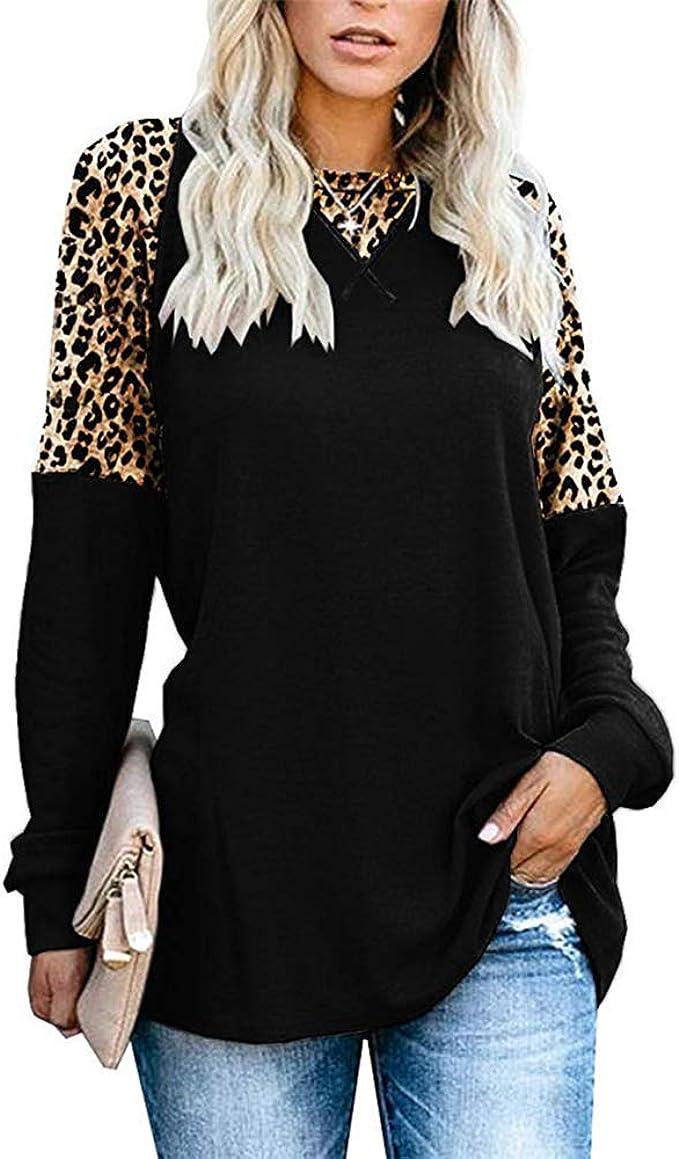 Primavera OtoñO Nueva ExplosióN Cuello Redondo Estampado Leopardo Casual Manga Larga Camiseta Mujer: Amazon.es: Ropa y accesorios