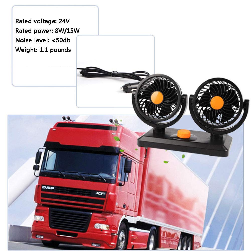 UIEJHN Car Fan 12v Electric Auto Cooling 24V Large Truck Powerful with Double Head Silent 360° Rotatable 2 Speed Adjustment,24VOrange