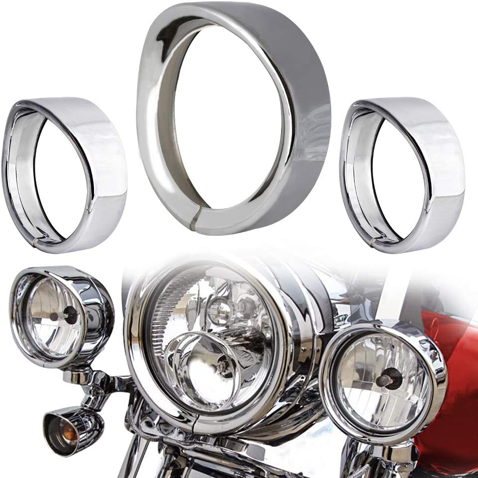 NTHREEAUTO 7 Headlight Trim Ring Head Lamp Visor Motorcycle Headlight Chrome Decorate Rings Compatible with Harley Davidson Softail Road King Touring Bikes Chrome