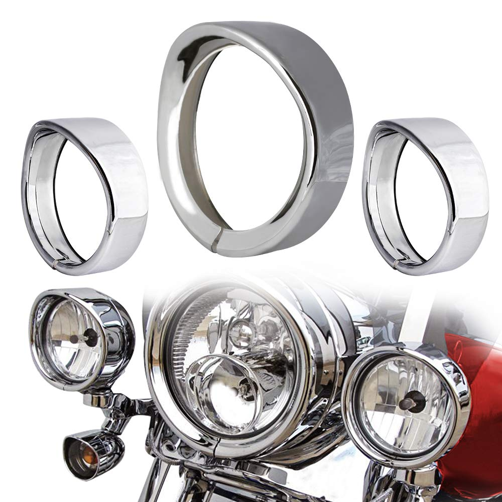 NTHREEAUTO Chrome Motorcycle Lights Frenched Ring Kit Compatible with Harley Davidson, 7'' Headlight Trim Ring Decorate Visor + 4 1/2'' Fog Light Trim Ring Decorate Visor(Chrome) by NTHREEAUTO (Image #1)