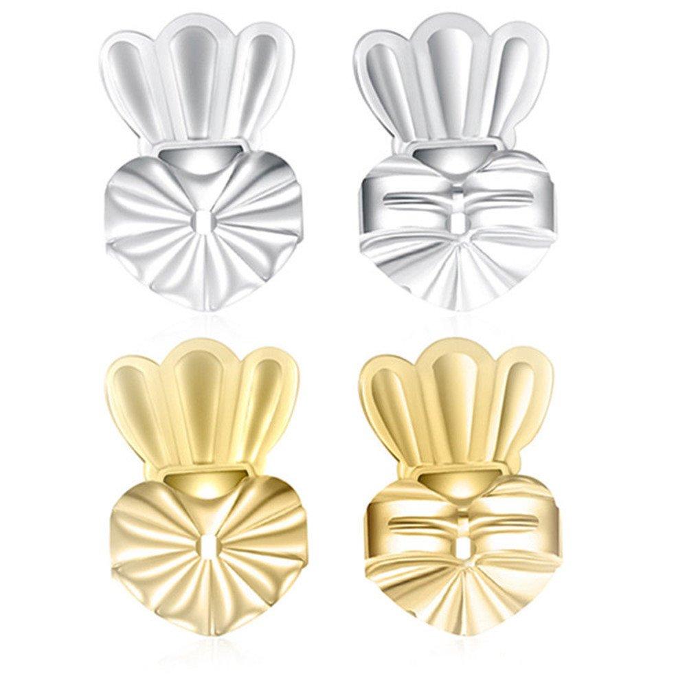 lnsky2018 Magic Boucles d'oreilles Shells, 2paires de réglable hypoallergénique Sécurité fermoirs Vu à la Télé (1paire de Plaqué argent et 1paire de Plaqué or) (Couronne)