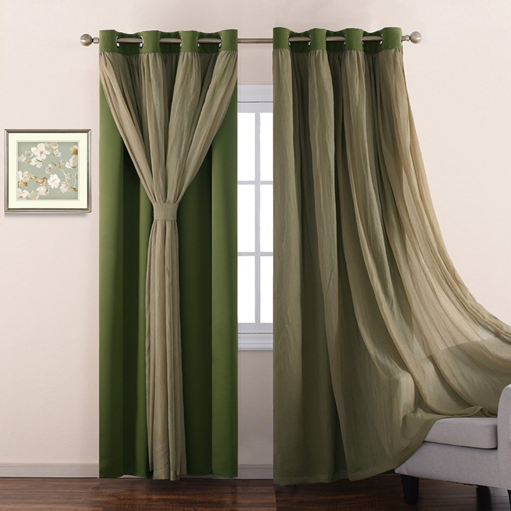 Nicetown Sage Crinkled Voile & Solid Blackout Assembled Mix & Match Curtain With Versatile Styling Option for Bedroom /Living Room