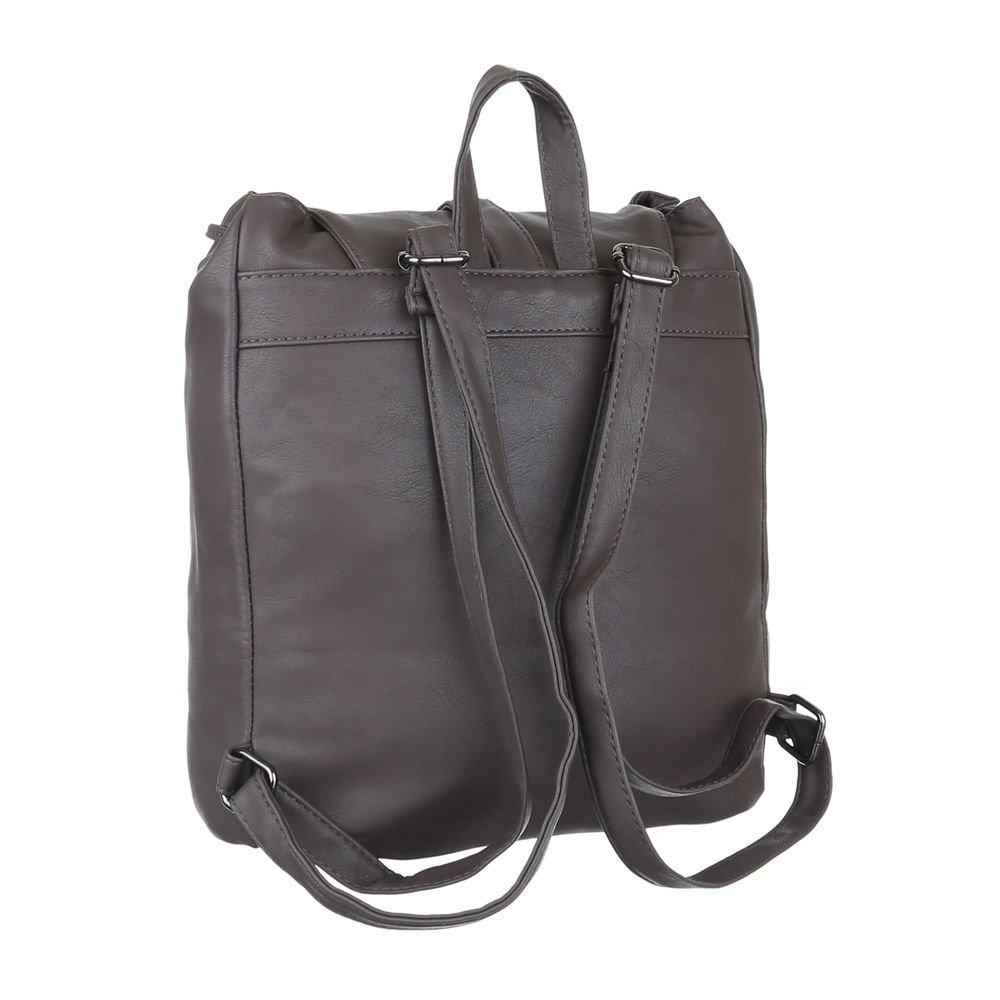 e757f5f621ef3 iTal-dEsiGn Damen-Tasche Mittelgroße Rucksack Freizeit Kunstleder Grau  Braun TA-C2174  Amazon.de  Schuhe   Handtaschen