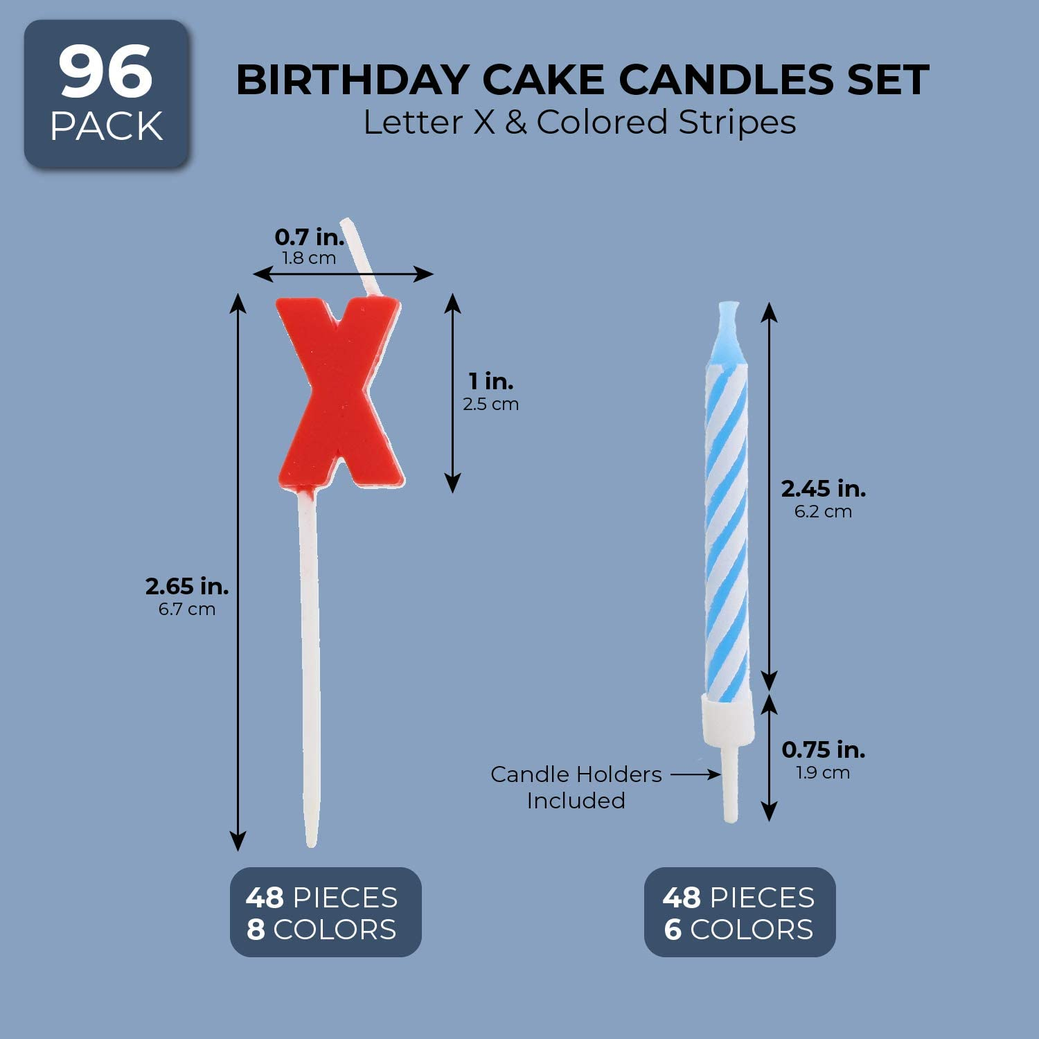96 Pack Letter X Birthday Cake Candles Set with Holders