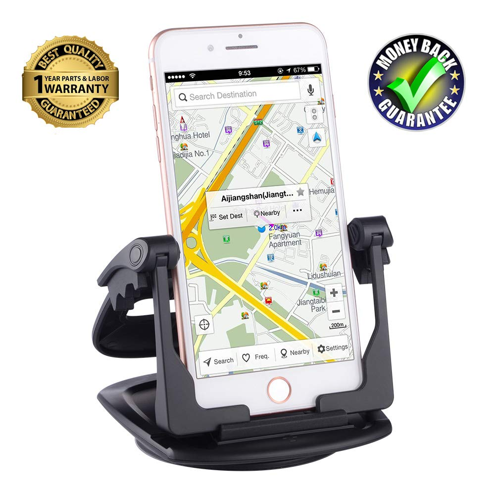 Cell Phone and GPS Holder for Car,Dashboard Car Mounts for iPhone X 8 Plus 7 Plus 6 6S Plus Non-Slip GPS Mount Car Cradles for Galaxy Note8 S8 Plus S7 Edge and 3-6.5 inch Smartphone or GPS Devices HapGo 4350471209