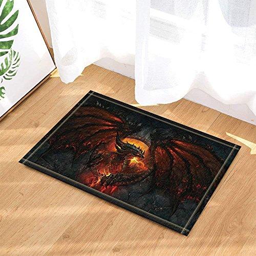 Fantasy World Decor Gothic Dragon Fire Breathing Bath Rugs Non-Slip Doormat Floor Entryways Indoor Front Door Mat Kids Bath Mat 15.7x23.6in Bathroom Accessories