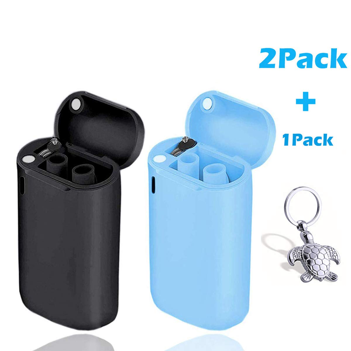 scurry 2 Pack Collapsible Reusable Straw, Composed of Stainless Steel and Food-Grade Silicone, Portable Set with Hard Case Holder and Cleaning Brush, for Party, Travel, Outdoor, etc.(Blue&Black) by scurry