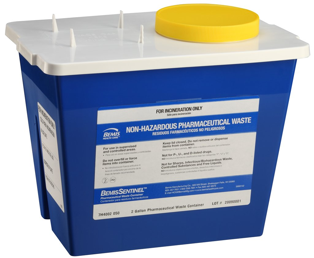 Bemis Healthcare 4002050-5 2 gal Pharmaceutical Waste Container, Blue (Pack of 5)