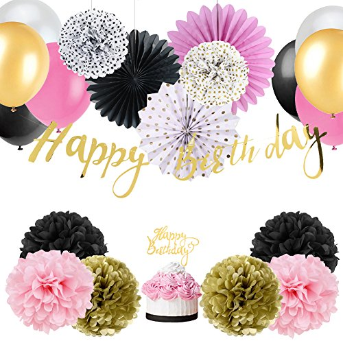 Easy Joy Baby Girl 1st Birthday Decoration Wild One Birthday Decorations Kit Tissue Paper Pom Poms Flowers Rosette Fans Latex Balloons Decor with Gold Happy Birthday Banner (Pink Gold White) -