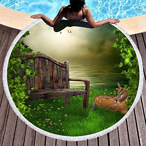 WSKMHK Ronda de Microfibra Toalla de Playa,psicodelico banqueta Forestal Bordeada de Ciervo Animal Grande, de Tela Impresas Estilo Bohemio Mandala Indio cojin Piscina Toalla Estera del Yoga psicodeli