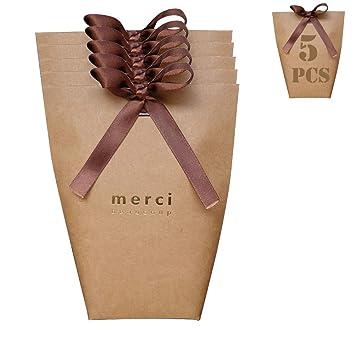 5 bolsas para dulces con lazos para regalo de boda ...
